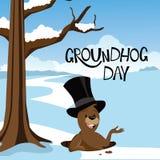 Snöig plats för Groundhog dag royaltyfri illustrationer
