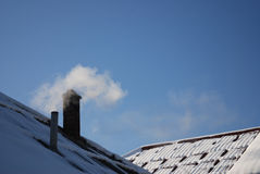 snöig rørtakrökning Royaltyfri Fotografi