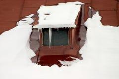 snöig rooftop Fotografering för Bildbyråer