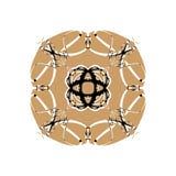 Snöig rosett eller blomma, orientalisk prydnad på den vita bakgrunden, design för vinterferie arkivfoton