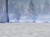 snöig skog vektor illustrationer