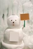Snöig snögubbe med det tomma tecknet Royaltyfri Fotografi