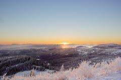 Snöig solnedgång på Bymarka Arkivfoto