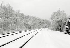 snöig spår Arkivbild