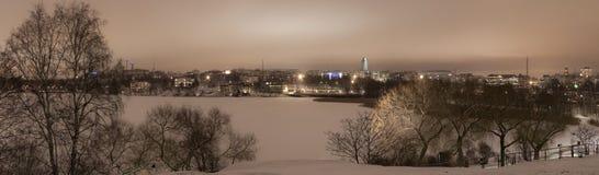 Snöig stad Royaltyfri Foto