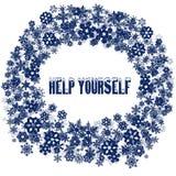 Snöig text för HJÄLP SJÄLV i snöflingaram royaltyfri illustrationer
