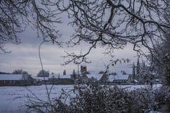 Snöig by till och med träd 2 Arkivfoto