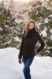 Snöig tonårig flicka Royaltyfri Fotografi