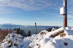 Snöig toppmöte av Schwarzenberg royaltyfria bilder