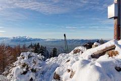 Snöig toppmöte av Schwarzenberg arkivfoton