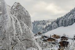 Snöig träd och Morzine vilagechalet Royaltyfri Bild