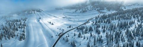 Snöig träd och skogar i de schweiziska jura bergen Royaltyfria Bilder