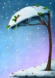 Snöig trädparaply Arkivbild