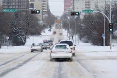 Snöig trafik Arkivbilder