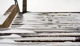 snöig trappa Fotografering för Bildbyråer