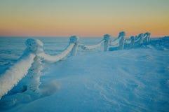 Snöig trappräcke Royaltyfri Fotografi