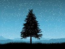 snöig tree för julnatt stock illustrationer