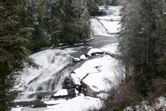 Snöig trefaldiga nedgångar Arkivfoto