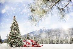Snöig utomhus- julgranplats i berg royaltyfri bild