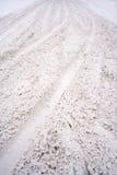 snöig väg Arkivbild