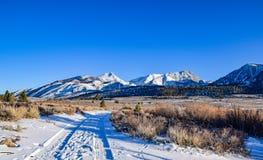 Snöig väg på kolossala sjöar Royaltyfria Bilder
