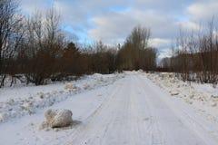 Snöig väg som omges av en skog Arkivbilder