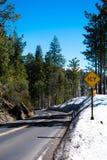Snöig väg till den Yosemite dalen arkivfoto