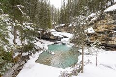 Snöig vattenfallpöl arkivbilder