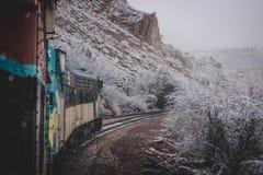 Snöig Verde kanjonjärnväg Fotografering för Bildbyråer