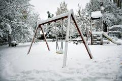 Snöig vinter arkivfoton