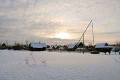 Snöig vinter. arkivbild