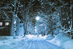 Snöig vinter. fotografering för bildbyråer