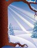 snöig vinter för liggande Arkivfoto