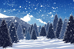 snöig vinter för skog vektor illustrationer