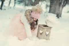 Snöig vinter och en flicka i ett lock med duvor Royaltyfri Foto
