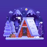 Snöig vinterjournalhus i skog stock illustrationer