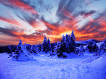 Snöig vinterlandskap i bergen Royaltyfria Bilder