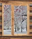 Snöig vinterlandskap i ramen av ett lantligt träfönster Arkivbild