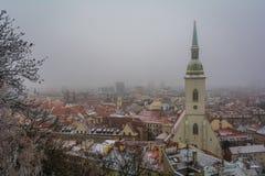 Snöig vintermorgonsikt från den Bratislava slotten, Slovakien royaltyfri fotografi