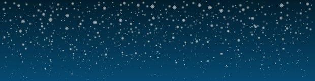 Snöig vinternattbakgrund panorama Fotografering för Bildbyråer