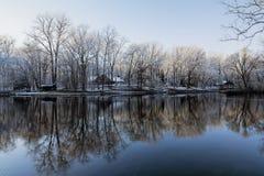 Snöig vinterträdreflexioner royaltyfri fotografi