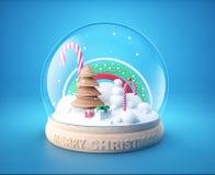 Snöjordklot med den julträdet och snögubben Arkivfoton