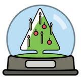 Snöjordklot med det Christams trädet royaltyfri illustrationer