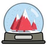 Snöjordklot med tre julgranar stock illustrationer