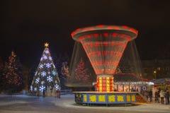 Snöjultid i den Daugavpils staden Arkivfoto