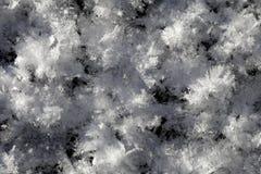 Snökristaller på jordningen Arkivbild