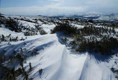 Snölandskap i den Dartmoor nationalparken Royaltyfria Foton