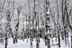 Snölandskap i vinter Fotografering för Bildbyråer