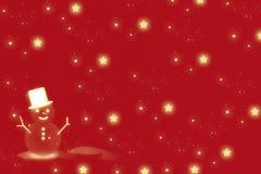 Snöman och röd julbakgrund royaltyfria foton