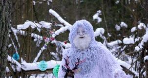 Snömansagatecken i längd i fot räknat för fantasi 4K för vinterskog utomhus- stock video